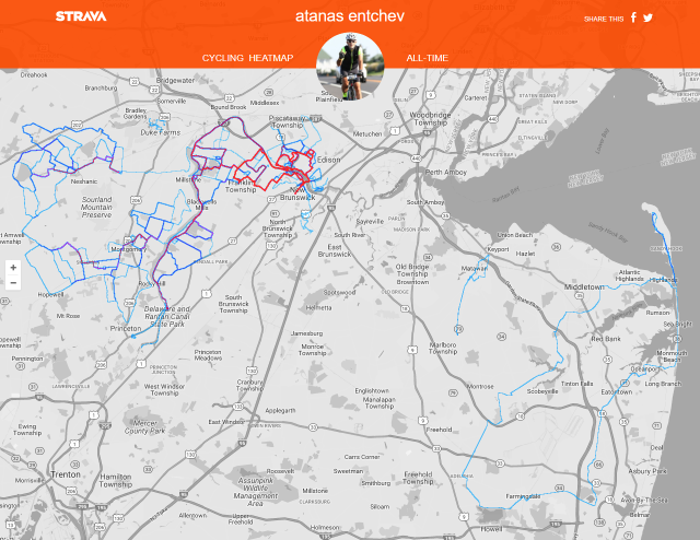 Strava heatmap of 90% of my rides since early 2016